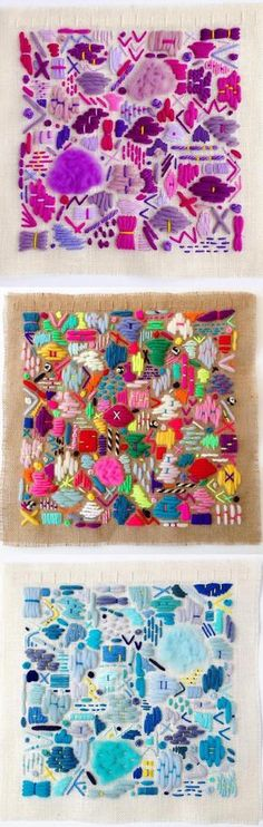 Elizabeth Pawle's scattering embroideries remind me doodles made with thread. The bevy of colors and shapes are organized in aesthetically-pleasing squares.