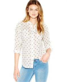 Dive into the dot trend. This summer style must-have brings a modern touch to classic polka dot print. Pairs best with boyfriend jeans and your favorite flats.