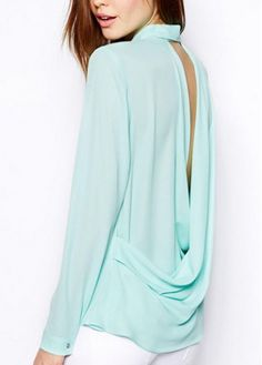 Chic Open Back Turndown Collar Long Sleeve Shirt