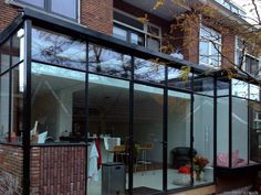 House Extension Design, Glass Extension, House Design, Garden Room Extensions, House Extensions, Glass Conservatory, Black Window Frames, Steel Stairs, Asian Interior