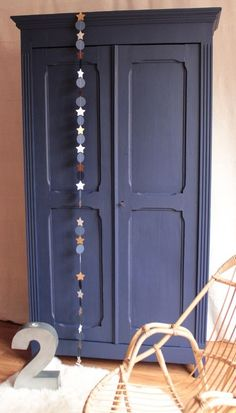 Image of Armoire penderie bleu nuit