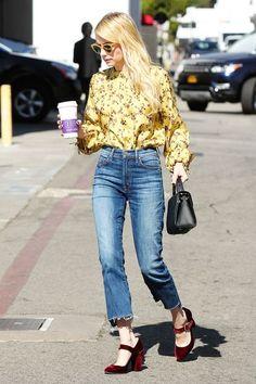Emma Roberts LA Photo Silk Blouse High Waist Jeans | Emma Roberts is already breaking out her favorite seasonal shoe trend. #refinery29 http://www.refinery29.com/2016/10/127183/emma-roberts-high-waisted-jeans-velvet-shoes-outfit