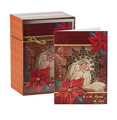 Design Decor 16-Count Embossed Mary and Jesus Christmas Card