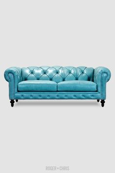 Tiffany blue leather Chesterfield Sofas, Armchairs, Sectionals, Sleepers | Leather, Fabric, Linen | Made in USA | Higgins from Roger + Chris