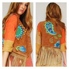 Hippie Boho Bohemian Festival Genuine Leather Fringe Suede Vest Paisley 1960s Handmade Altered Couture Gypsy Applique Small Medium Large