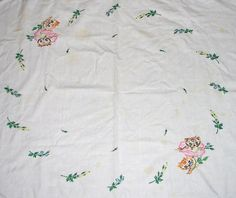 Kitty and flower small table cloth by love to sew, via Flickr