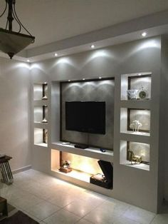 Living Room Shelves, New Living Room, Small Living, Living Room Ideas Tv Wall, Deco Tv, Art Deco, Modern Tv Wall Units, Tv Wall Decor, Wall Tv