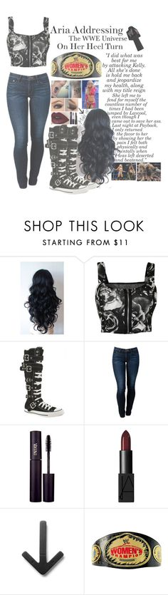 """""""Aria Addressing The WWE Universe On Her Heel Turn"""" by basket-case47 ❤ liked on Polyvore featuring WearAll, Converse, THVM, INIKA, NARS Cosmetics, Design House Stockholm, WWE, raw and kellykelly"""