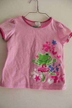 Girls Sleepware Pink Pajama Top Size XS 4 to 5 Green Frog Hearts Stars Flame Res #Unbranded #PajamaTopNightshirt