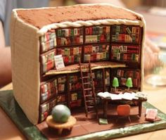 The back of this cake reveals an intricate library interior