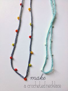 crochet necklaces with beads  -- looks super fast and easy and could be cute to wear a bunch a once