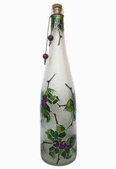 Hand painted wine bottle - Blackthorn