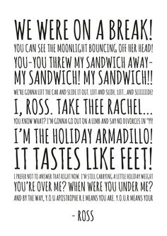 Ross Friends Chalkboard Quotes HIGH QUALITY PRINT by ohmyframe - although missing fajitas and I'm an 8?
