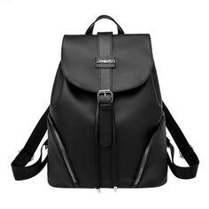 2fbc8d2fb88c Fashion Nylon Backpacks Women Casual Students Teenage Girls Rucksack Travel  High Quality Basic Black Shoulder School Bags