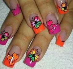 Cute Toe Nails, Cute Nail Art, Pretty Nails, Butterfly Nail, Flower Nail Art, Fabulous Nails, Perfect Nails, Rodeo Nails, Pink Nails