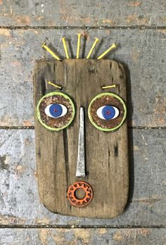 Recycled Art Projects, Driftwood Projects, Driftwood Art, Recycled Wood, Found Object Art, Junk Art, Masks Art, Find Objects, Robot Art