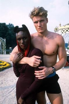 James Bond villain Grace Jones as Mayday and henchman Dolph Lundgren in A View To A Kill