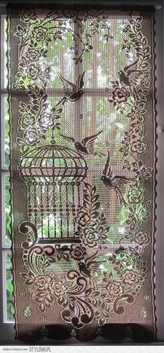 Window teatment for small window. Brown Lace Curtain French Window Curtain Bird by HatchedinFrance Crochet Curtains, Lace Curtains, Window Curtains, Tablecloth Curtains, Patchwork Curtains, Lace Window, Window View, Filet Crochet, Antique Lace