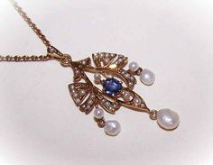 Exceptional EDWARDIAN 14K Gold, Sapphire & Natural Pearl Lavaliere with Original Chain