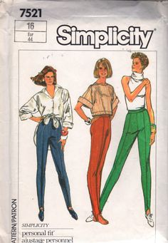 Simplicity 7521 Misses 1980s  Stretch Knit Stirrup Pants Pattern womens vintage sewing pattern by mbchills