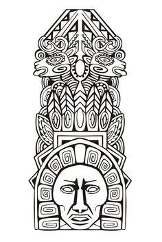 Adult Coloring Pages: Mayan Mask 3