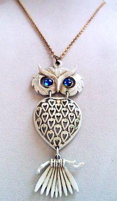 White Owl Pendant Necklace Blue Rhinestone by BrightgemsTreasures