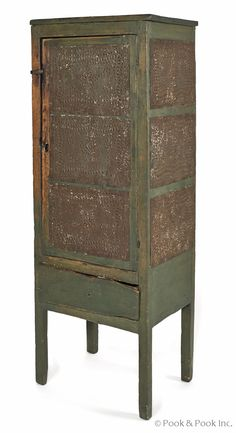 Pennsylvania painted pine pie safe, c., with punched tin panels, 57 h., 20 w. Primitive Cabinets, Primitive Furniture, Country Furniture, Antique Furniture, Furniture Decor, Primitive Homes, Primitive Kitchen, Primitive Antiques, Primitive Decor