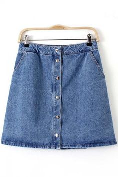 Blue Buttons Up High Waist Skater Denim Skirt | Psychedelic Monk
