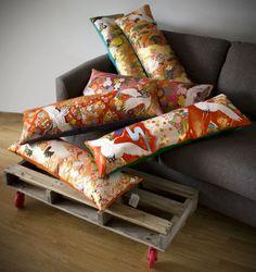 Large Vintage Kimono Silk Cushion with Orange Velvet by Hunted and Stuffed