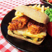 Burger au poulet croustillant, courgette et Fol Epi