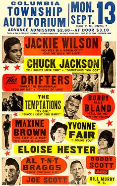 Jackie Wilson - The Drifters - The Temptations - 1965 - Concert Poster – Poster-Rama Rock Posters, Music Posters, Vintage Concert Posters, Vintage Posters, Soul Singers, Northern Soul, Old Shows, Famous Singers, I Love Music