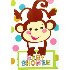 """These adorable die-cut fill-in style invitations are designed to match the Fisher Price Baby Shower theme. Easy fill-in cards come in quantities of 8 with envelopes, and feature the following spaces: """"For"""", """"Date"""", """"Time"""", """"Place"""", and """"RSVP""""."""