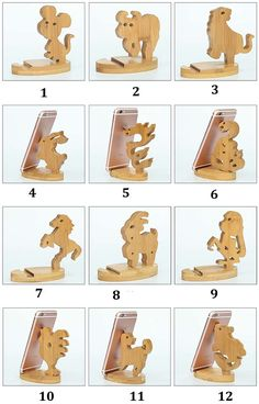 Bamboo Animal Shaped Mobile Phone iPad Holder Stand - Iphone Holder - Ideas of Iphone Holder - Bamboo Animal Shaped Mobile Phone iPad Holder Stand Small Woodworking Projects, Small Wood Projects, Woodworking Crafts, Ipad Holder, Iphone Holder, Wood Phone Holder, Mobile Holder, Wood Carving Tools, Wooden Animals