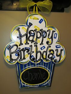 Teachers show your school spirit with a birthday cupcake door hanger for your classroom. Kids will love to see their name on the door when they come to school carrie creates