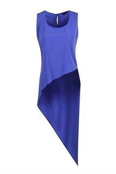 Loven Fashion Paris Arkası Uzun Asimetri, Kolsuz Bluz Saks