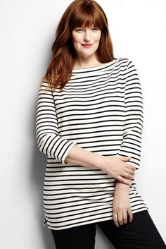 Women's Plus Size 3/4-sleeve Boatneck Tunic Top - Stripe from Lands' End