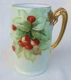 "Gorgeous J & C Bavaria Vintage 1900's Hand Painted ""Cherry"" 5-3/4"" Fruit Dragon Handle Tankard Stein"