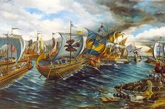 "Giannis Nikou, ""The naval battle of Salamis, 480 B.C."", 300X200 cm, oil on canvas, 1999"