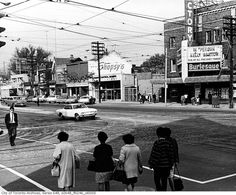 Northeast corner of Spadina and Dundas, City of Toronto, circa 1969 Then And Now Pictures, Toronto Photography, Street Photography, Yonge Street, Toronto Ontario Canada, Canadian History, Landscape Photos, Cool Photos, Amazing Photos