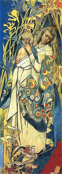 """Stanisław Wyspiański """"Madonna and Child"""" Fragment of stained glass design for the Cathedral of Lviv Pastel. The National Museum in Warsaw Art And Illustration, Claudia Tremblay, National Gallery, Madonna And Child, Christian Art, Mother And Child, Our Lady, Painting & Drawing, Art For Kids"""