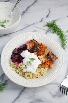 Scandi Salmon Bowl with Pickled Beets and Dilled Sour Cream {Katie at the Kitchen Door} Beet Recipes, Healthy Recipes, Healthy Cooking, Cooking Recipes, Healthy Food, Yummy Food, Seafood Recipes, Dinner Recipes, Dinner Ideas