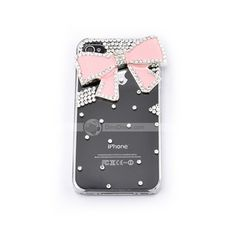 Hard cell phone Case Cover for iphone 4 4s,lovely cute flower butterfly bowknot, Rhinestone Crystal pearl   **US$5.69      **Free Shipping