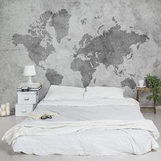 Non-woven Wallpaper Premium - Vintage World Map II - Mural Wide, Dimension HxW:290cm x 432cm