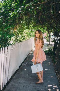 Gal Meets Glam Healdsburg - Urban outfitter dress, MCM bag, c/o, and Chloe flats
