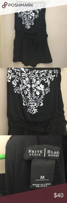 Romper by White House Black Market Strapless Romper by WHBM - Blouson top - Shorts With Cuff - Can be worn with or without belt - Elastic Top and Waist - Two side Pockets - Size Medium - No Tags - Worn  Once White House Black Market Dresses Mini