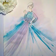 roberto_cavalliIdyllic illustration of a #RobertoCavalliFW15 light blue chiffon dress which blend into a pure lilac hue. Photo by @elemartiillustration #CavalliCrew