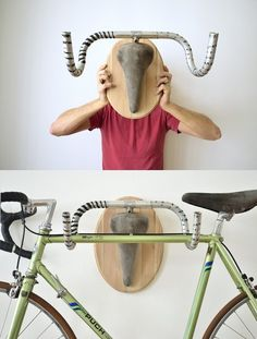 Upcycle Fetish – bicycle hangers by Andreas Scheiger. Don't know whether to … Upcycle Fetish – bicycle hangers by Andreas Scheiger. Indoor Bike Storage, Bike Storage Rack, Bike Storage Inside, Bike Storage Home, Diy Bike Rack, Garage Organization, Garage Storage, Bike Storage Options, Bicycle Hanger