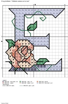 alfabeto celeste con le rose: E
