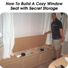 How To Build A Cozy Window Seat with Secret Storage  - http://www.hometipsworld.com/how-to-build-a-cozy-window-seat-with-secret-storage.html