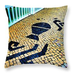 Throw Pillow featuring the photograph Portuguese Pavement by Dora Hathazi Mendes #throwpillow #homedecor #dorahathazi #cobblestone